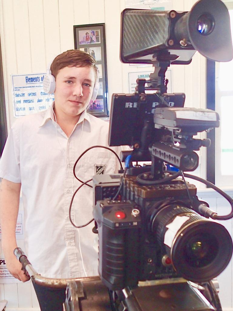 Behind the scenes of the Monto's students new film. Picture: Contributed