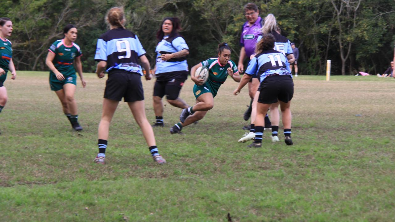 WONDER WOMEN: Lismore played Ballina in the Women's 10s which saw some excellent play on both sides. Here Lismore's Jada Williams running the ball with Tahana Binge in support. Photo: Alison Paterson