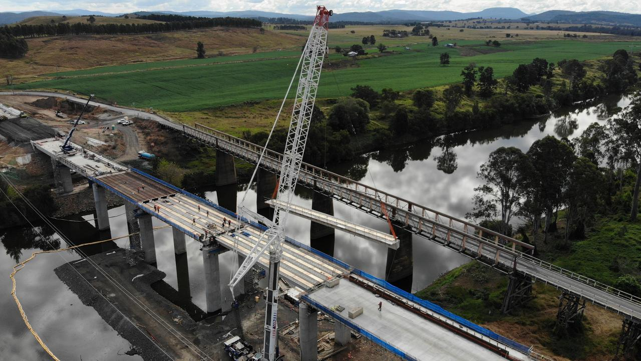 In June the final girder was slotted into place on the new Tabulam Bridge to provide a safer crossing for the Bruxner Highway over the Clarence River.