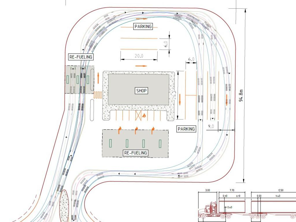 Proposed plans for a service station at Lot 2 Kunwarara Rd, Canoona.