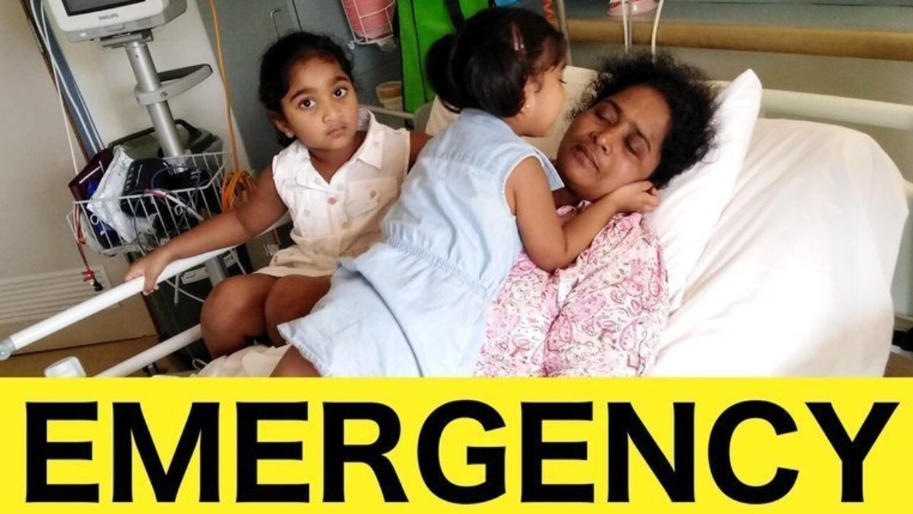 Biloela mother Priya, with her daughters Kopika, 4, and Tharunicaa, 3, has been discharged from hospital and returned to detention on Christmas Island. Friends are urging locals to call the government and complain. Photo: Change.org