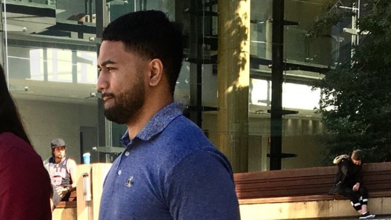 Jasiah Ioane leaves court after pleading guilty to dangerous driving charges relating to an argument with his wife over use of their vehicle.