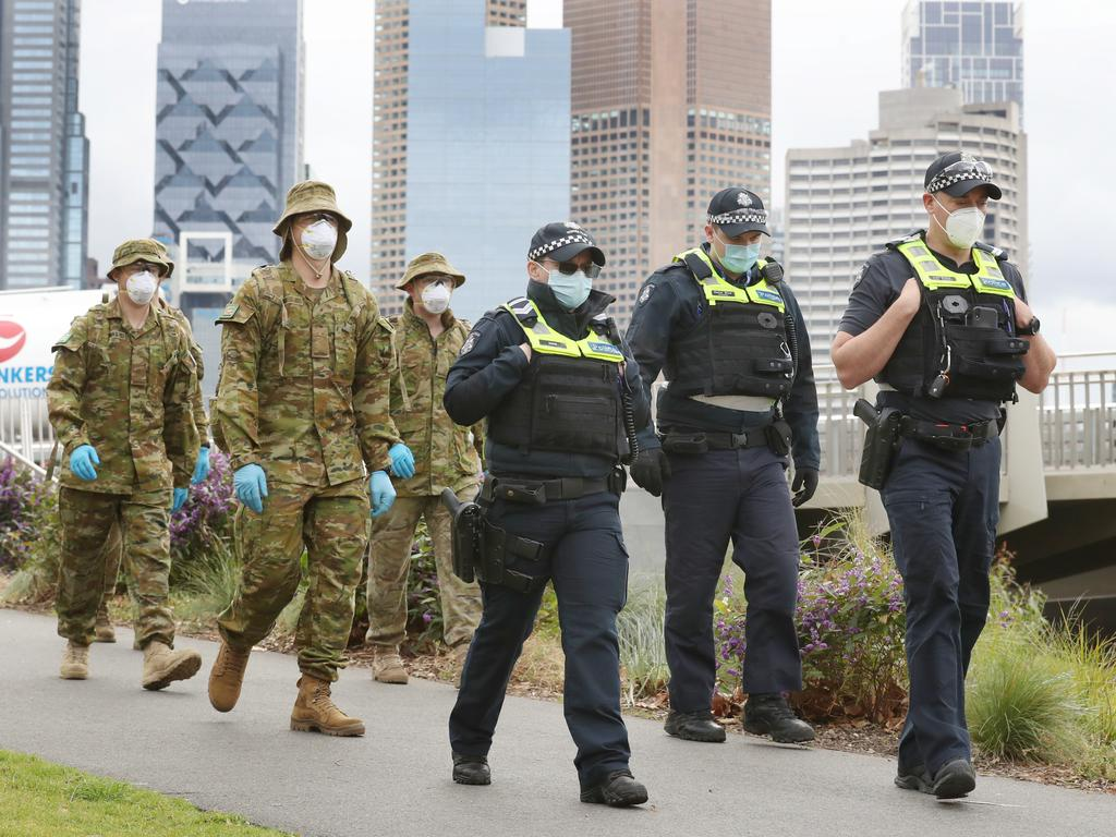 ADF and police patrol along the Yarra River in Melbourne. Picture: NCA NewsWire / David Crosling