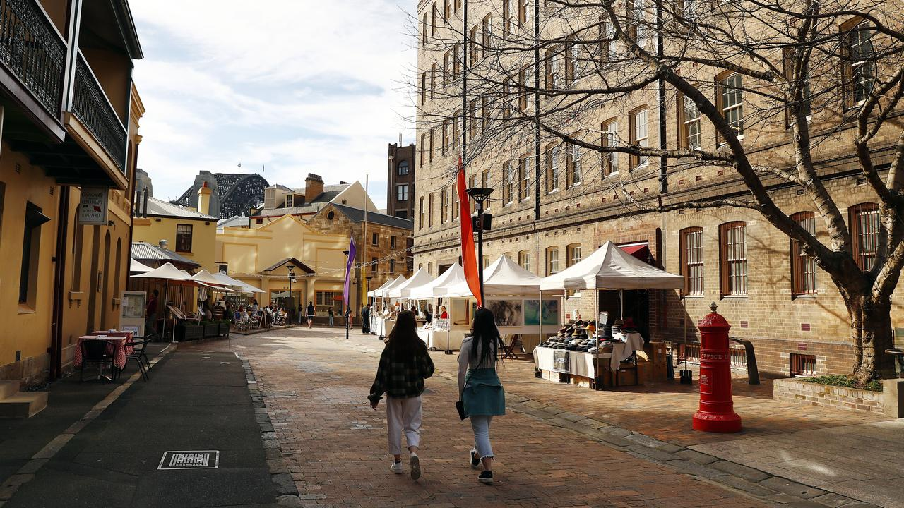 The Rocks Markets area was deserted too. Picture: Sam Ruttyn