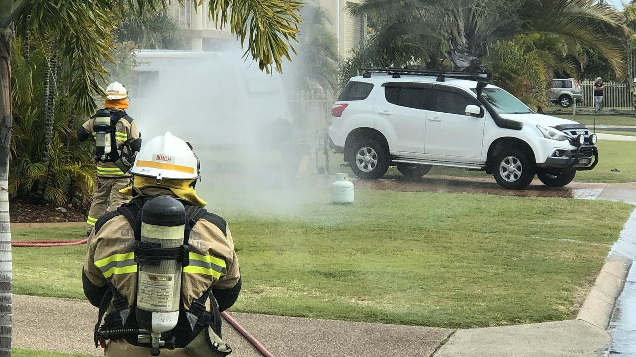 Fire fighters responding to a gas leak in Skinner St, Urangan