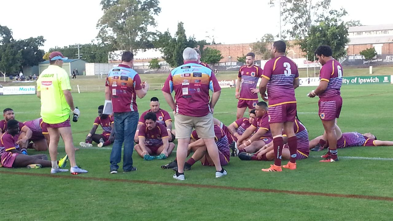 The West End Bulldogs at halftime in their first A-Grade game of the new Volunteers Cup series. Picture: David Lems