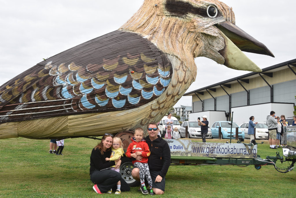 Image for sale: Kurt, Sam, Jaxson and Isla McNaughton with the Giant Laughing Kookaburra.
