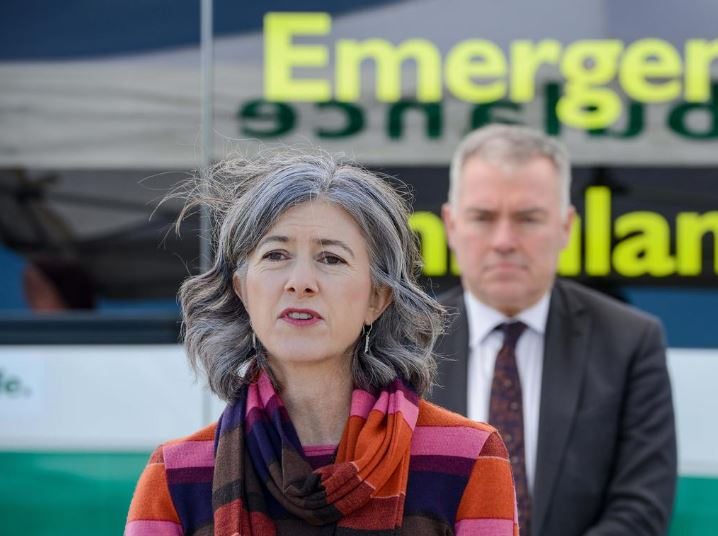 Covid presser at Largs Bay, August 1, 2020. Chief Public Health Officer Professor Nicola Spurrier and SA Health Minister Stephen Wade. Picture: Brenton Edwards