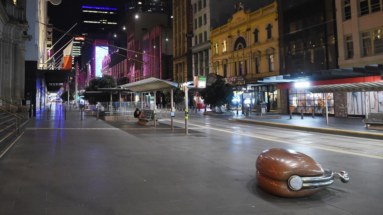 Melbourne's Bourke Street Mall was empty after an 8pm curfew began. Picture: Josie Hayden