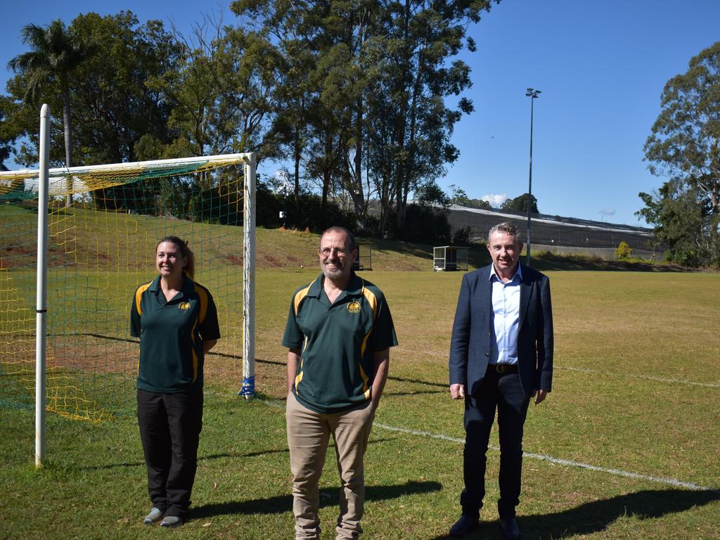FOOTBALL: Page MP Kevin Hogan with Dunoon Football Club vice-president Liz Vickers and secretary Rob Gatt