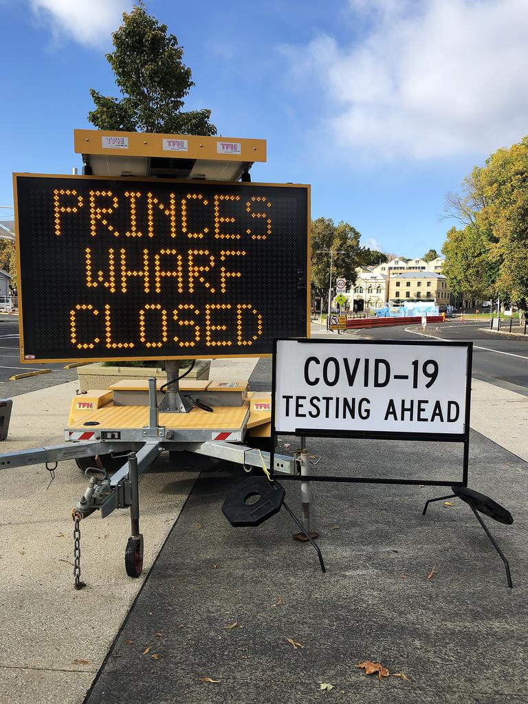 Signage on the Hobart waterfront near Princes Wharf Shed 1 where a drive through COVID-19 testing station has been set up. Picture: NIKKI DAVIS-JONES