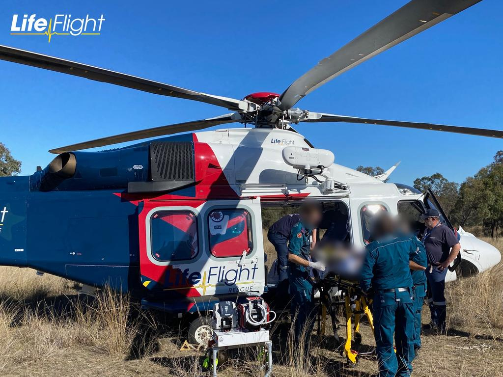 LifeFlight's Surat Gas Aeromedical Service (SGAS) helicopter flew from its Toowoomba base to rescue the young man. Picture: LifeFlight