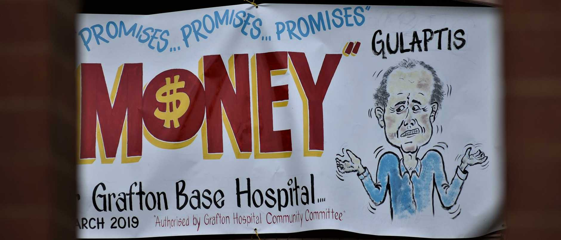 The Grafton Base Hospital Community Committee has erected a large banner in Prince St adjacent to the Clocktower demanding action on Grafton Base Hospital upgrade.