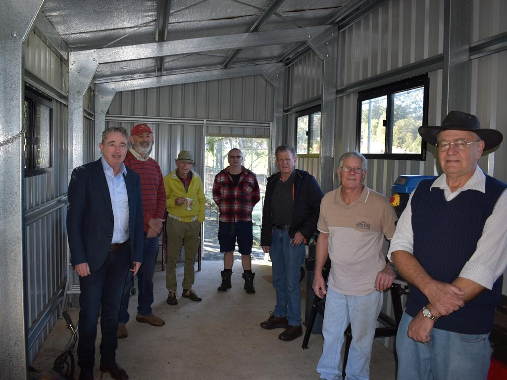 MEN'S BUSINESS: Page MP Kevin Hogan with members of the Dunoon Men's Shed in the shed's extension