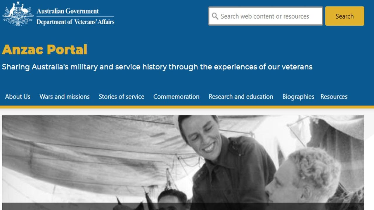 A screenshot of the Federal Government's new Anzac portal.