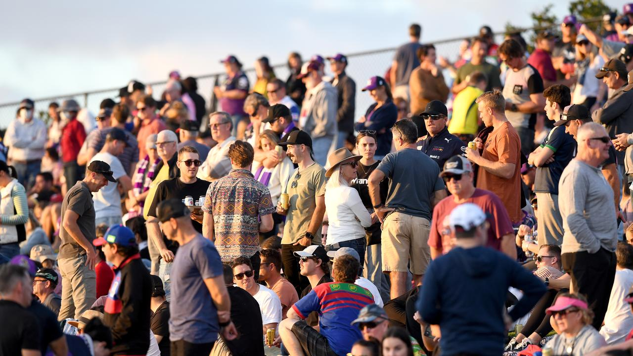 Crowds are seen during the round 12 NRL match between the Melbourne Storm and the Newcastle Knights at Sunshine Coast Stadium. Photo: Bradley Kanaris/Getty Images