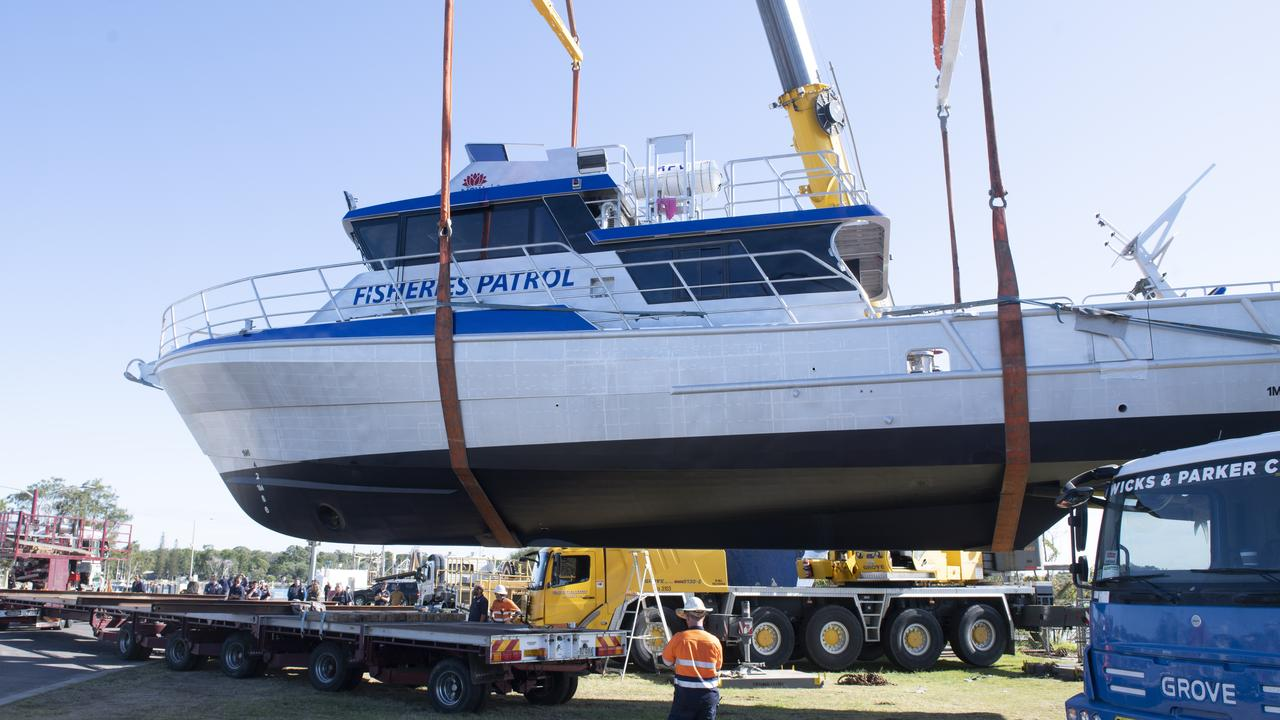 The launch of a the Fisheries patrol boat built by Yamba Welding and Engineering.
