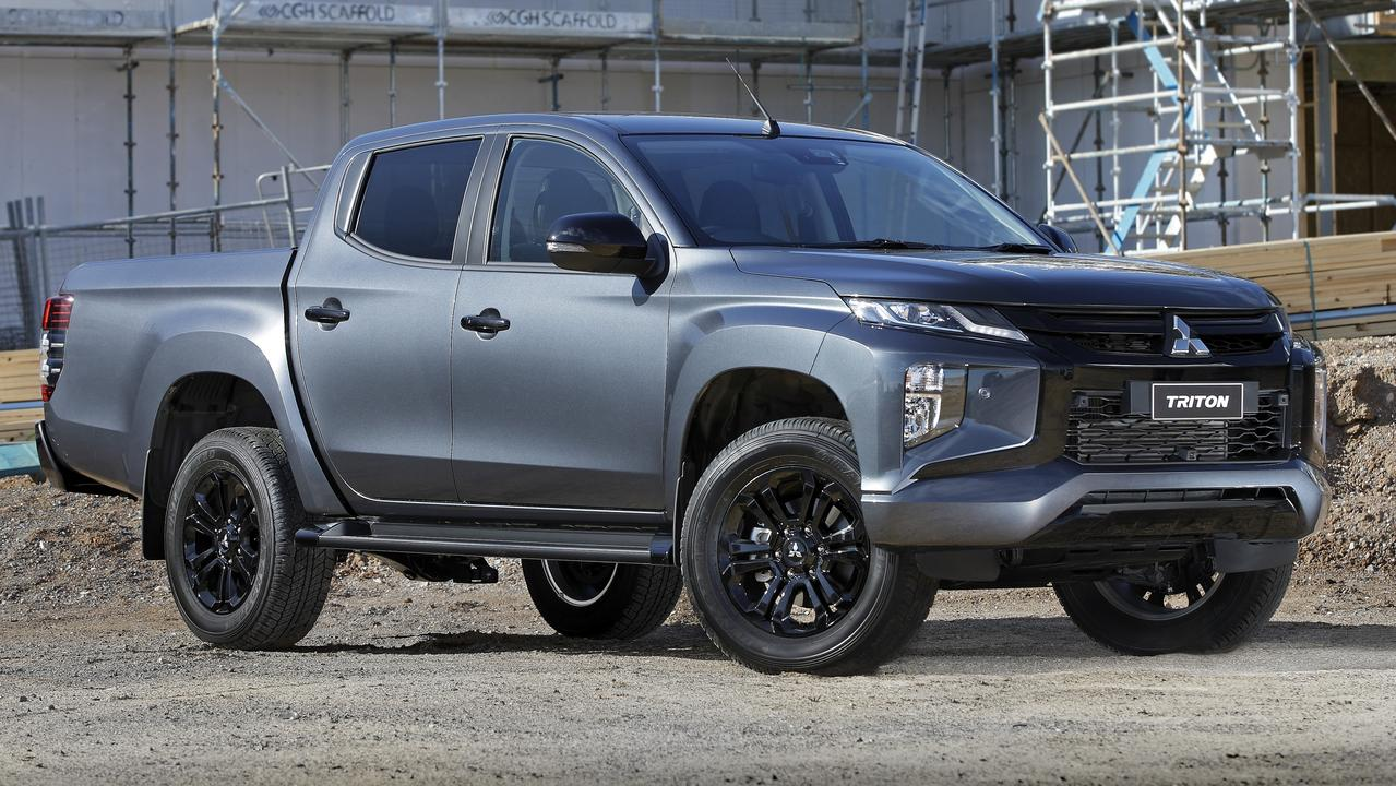 The 2020 model Mitsubishi Triton GSR in grey colour scheme.
