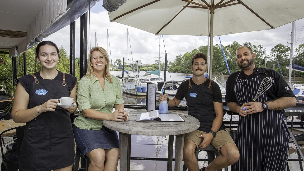 71 Wharf owner Sharyn Joynson (second left) and staff Jes Lake (left), Will Wilder and Lindsay Condon.