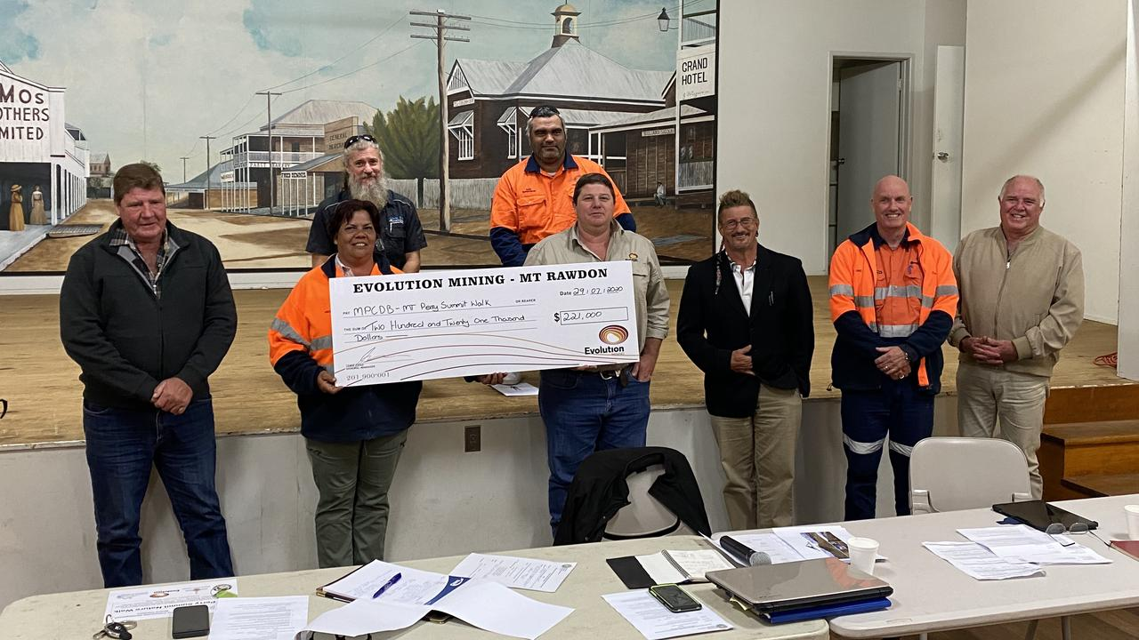 Ken Schuster, Russell Hill (Trainee Supervisor) Cr Mick Dingle (NBRC), Anita Ward (Community Relations MRO), Greg Coase (Development and Sustainability MRO), Jayson Kokles (Employment and Training Gidarjil), Greg Baird, Geoff Brandon (NBRC). Picture: Contributed