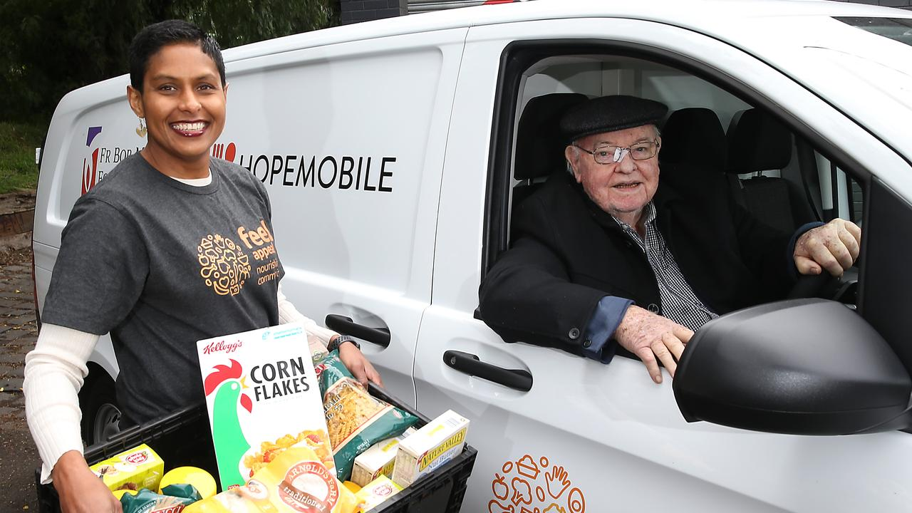 Feed Appeal CEO Katherine Gokavi-Whaley with the refrigerated van the Father Bob Foundation purchased with a Feed Appeal grant in 2019.