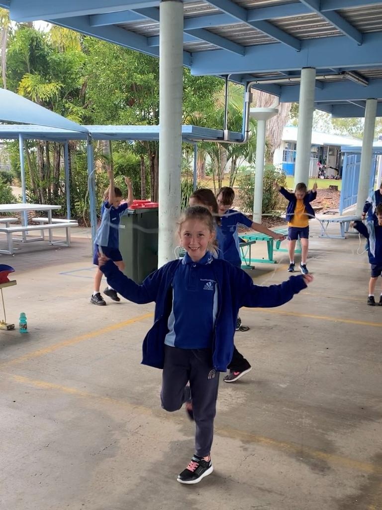 Tannum Sands state school students skipping up a storm to raise more than $28,000 for Jump Rope for Heart. The school is the current national fundraising record holder this year.
