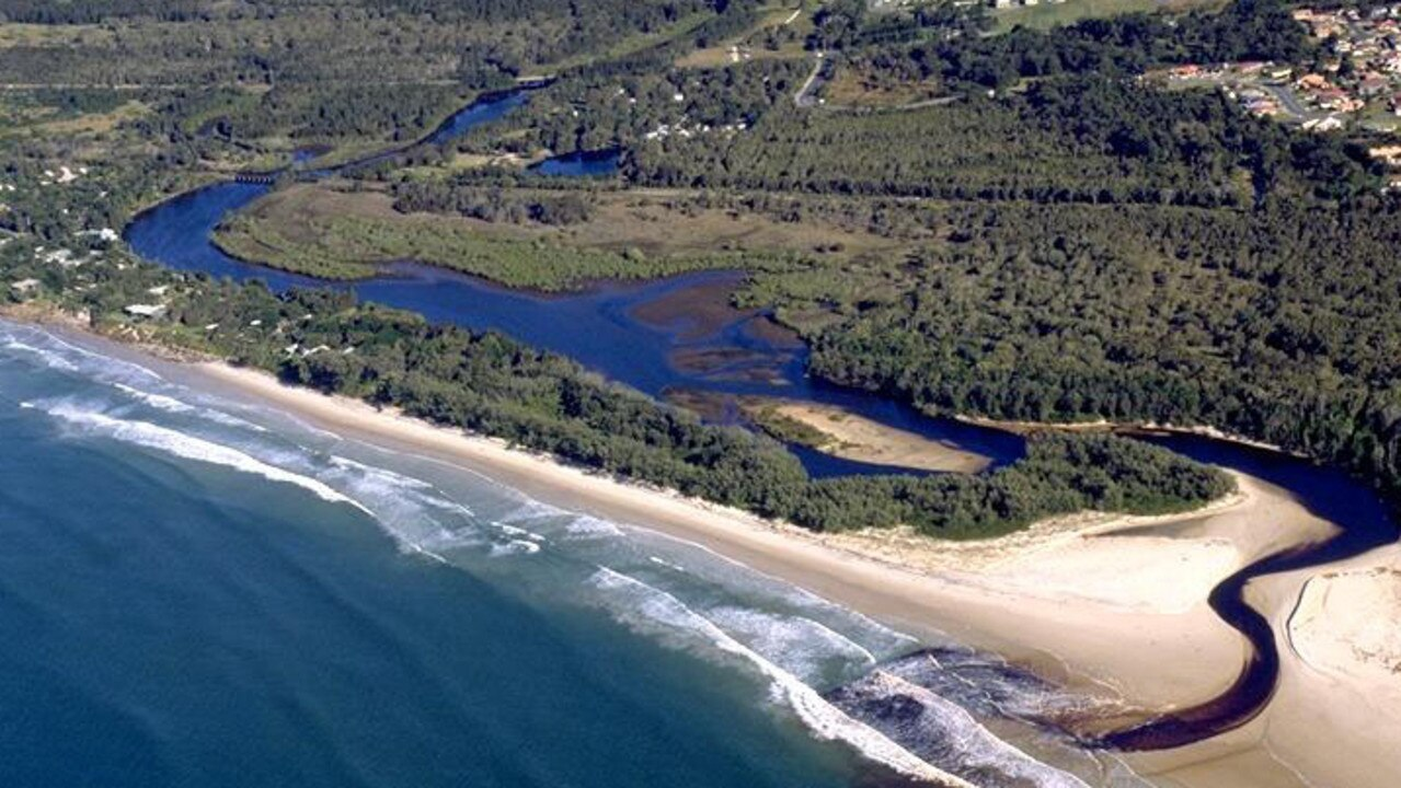 An aerial view of The Belongil Creek area of Byron Bay.