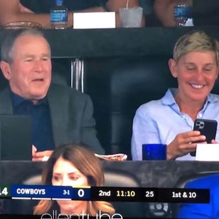 George Bush and Ellen DeGeneres at a Cowboys game.