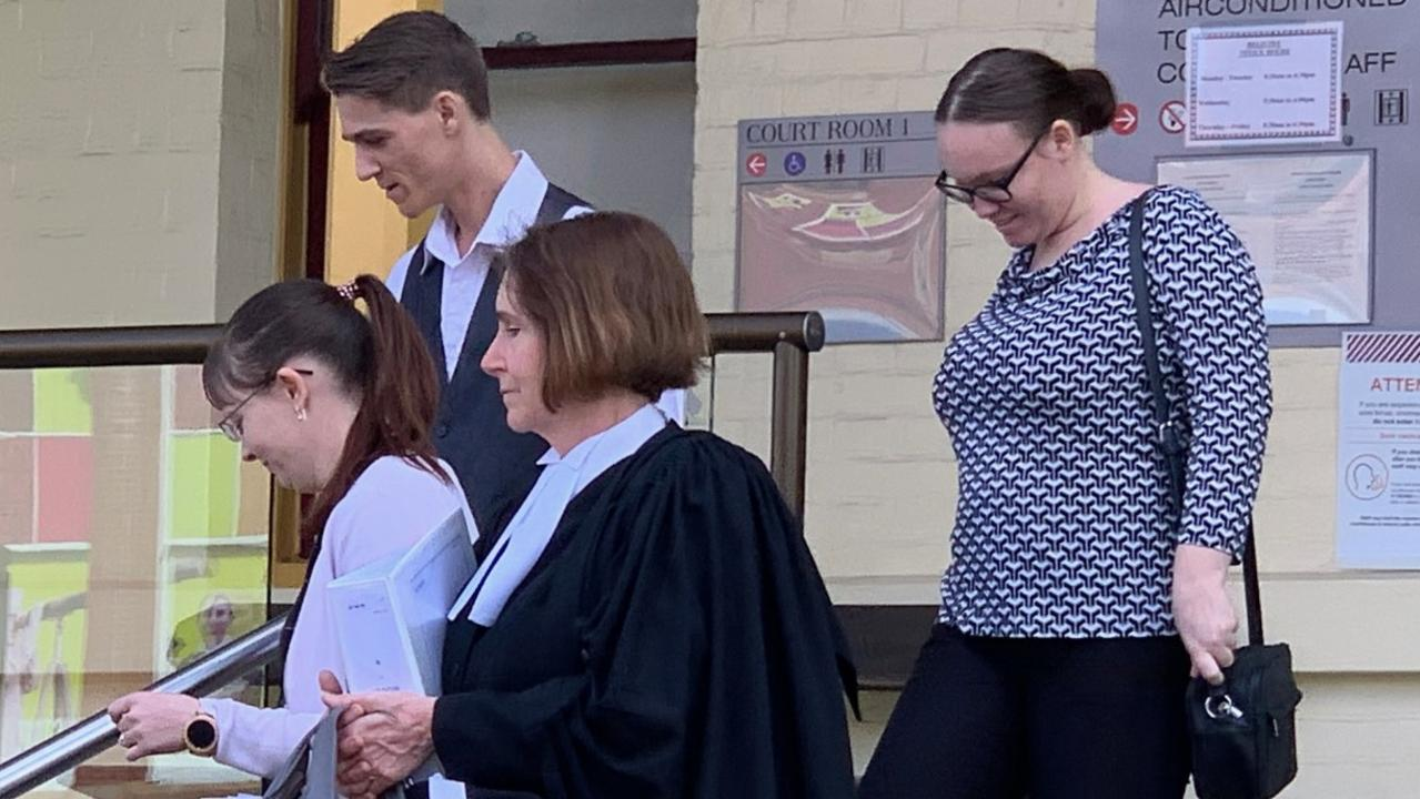 Cody Jon Spicer leaves Maryborough courthouse with his legal team and sister.