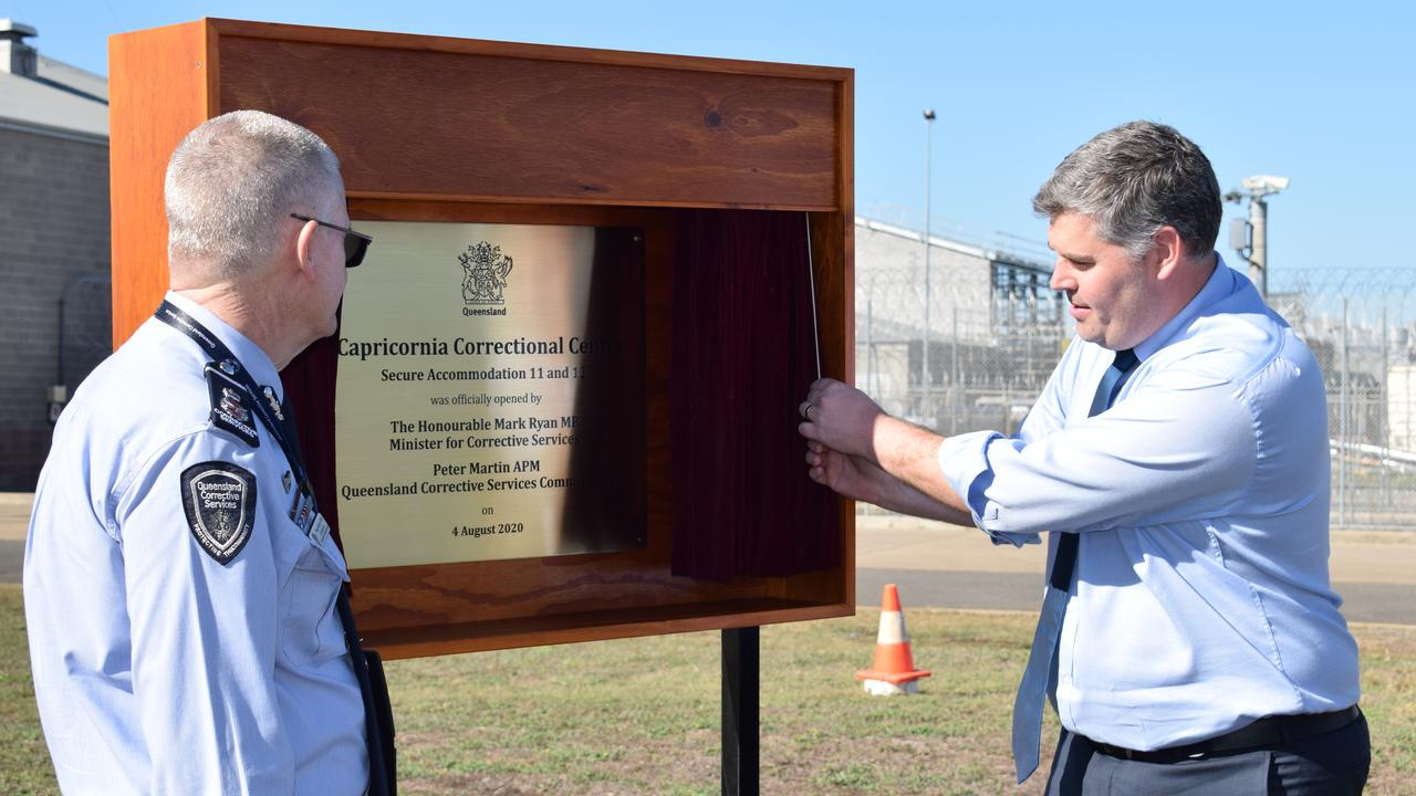 Minister for Correctional Services Mark Ryan and Commissioner Peter Martin unveiling the plaque, opening a newly completed section of the $241m expansion of Capricornia Correctional Centre. Pictures: Aden Stokes