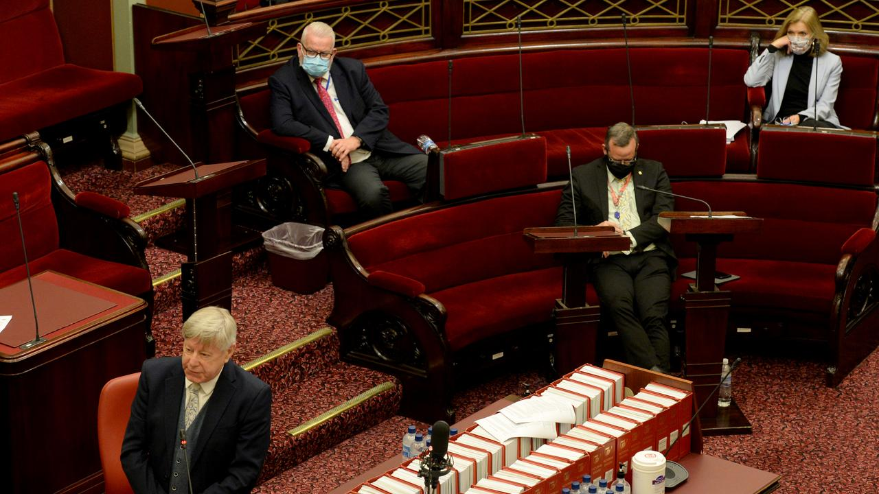 Members of Victoria's Legislative Council sit despite the Chief Health Officer's advice. Picture: Andrew Henshaw