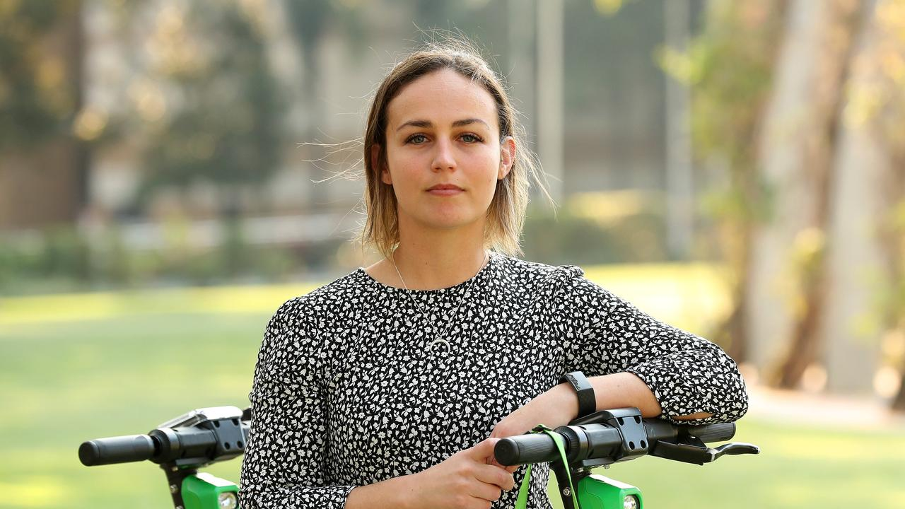 Jessica Jordan suffered a dental injury after a Lime scooter rider crashed into her. Lime won't hand over the details of the rider. Picture: Liam Kidston