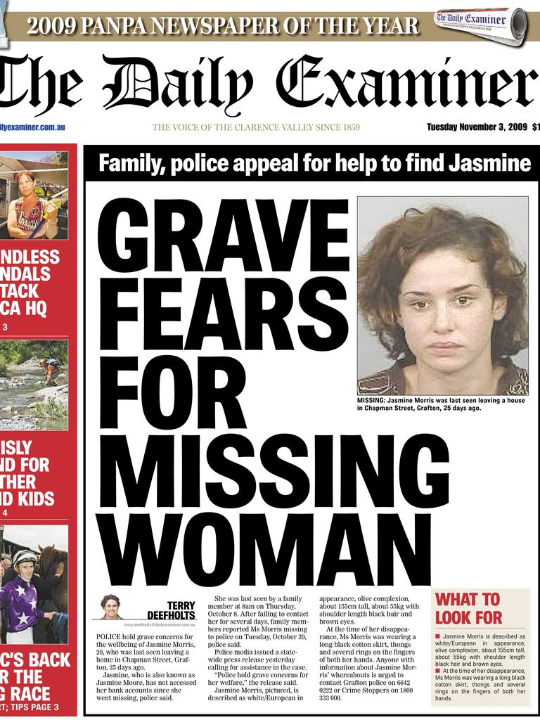Missing woman Jasmine Morris on the front page of The Daily Examiner (Nov 3, 2009)