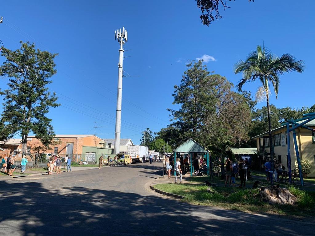 People protesting a Telstra 5G upgrade at Mullumbimby.
