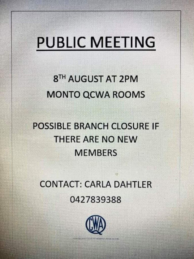 A meeting has been scheduled for August 8 to see if the branch can get enough interest from local women. Facebook/QCWA Monto-Bancroft
