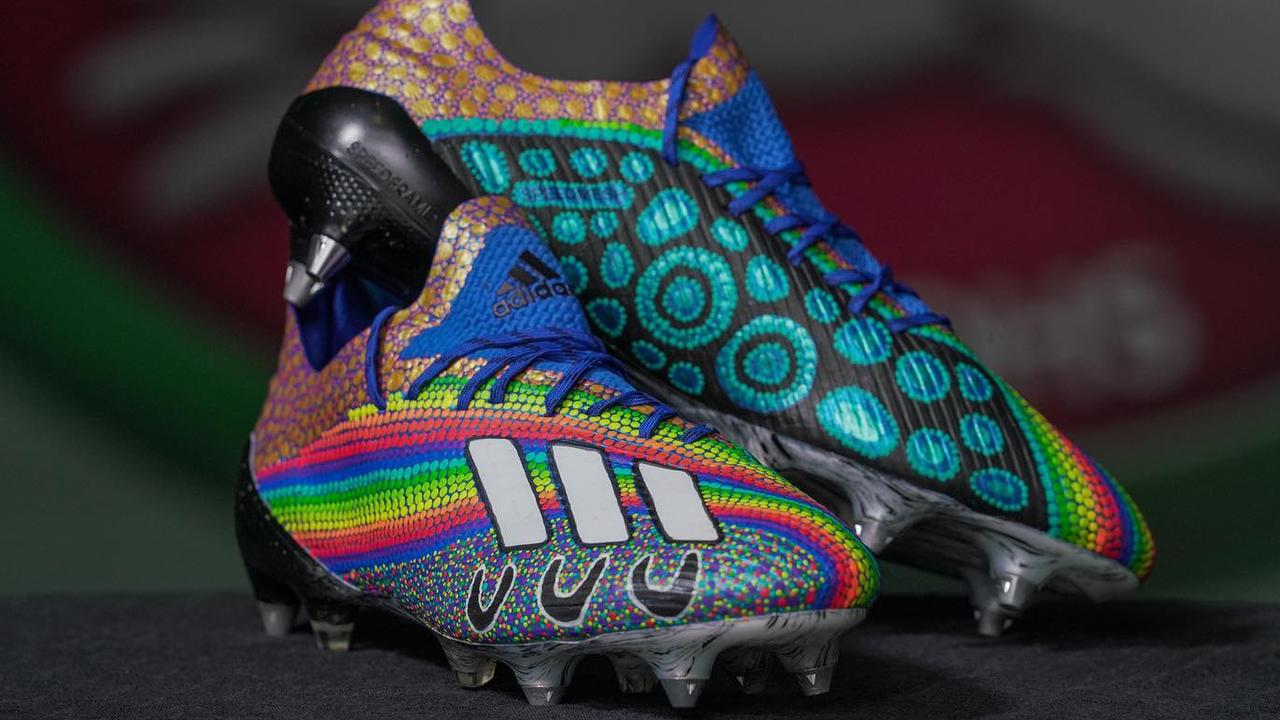 Cody Walkers's Indigenous boots worn with South Sydney Rabbitohs in an Indigenous round NRL clash against St George Illawarra Dragons on Thursday, July 30, 2020.