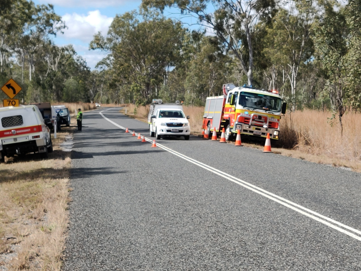 The scene of a double fatality on the Calliope Monto Road this morning. Picture: Rodney Stevens