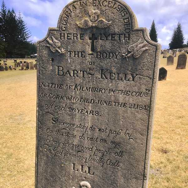 The headstone of Bartholomew Kelly still stands in the cemetery at Norfolk Island. Photo: Noelene Harris, Australian Headstone Images.
