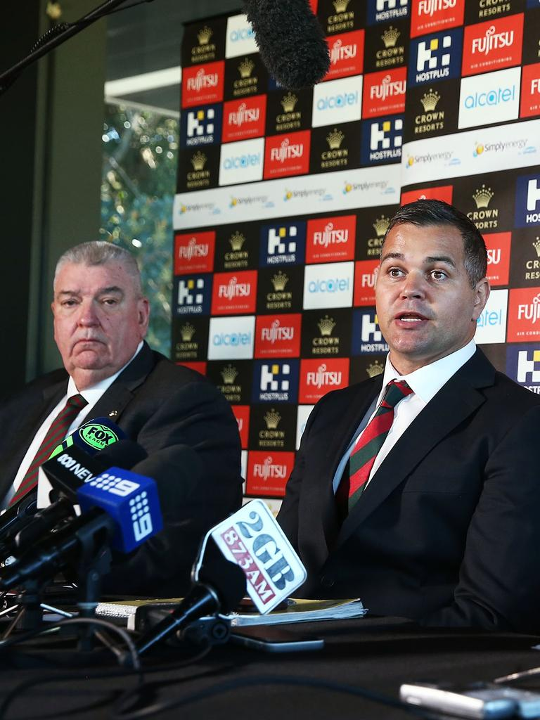 Shane Richardson (L) with Anthony Seibold. Picture: Brendon Thorne/Getty