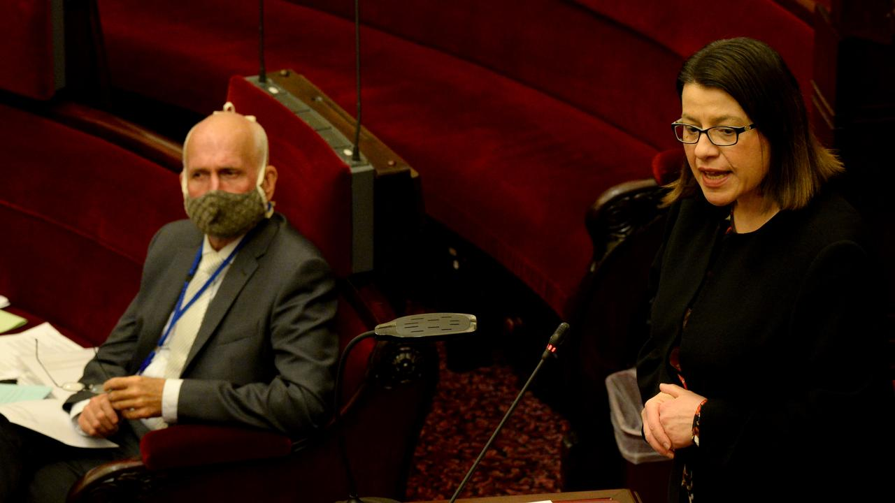 Health Minister Jenny Mikakos attends parliament despite the Chief Health Officer's advice. Picture: Andrew Henshaw