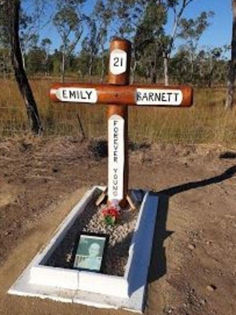The touching roadside memorial in honour of 21-year-old Emily Barnett.