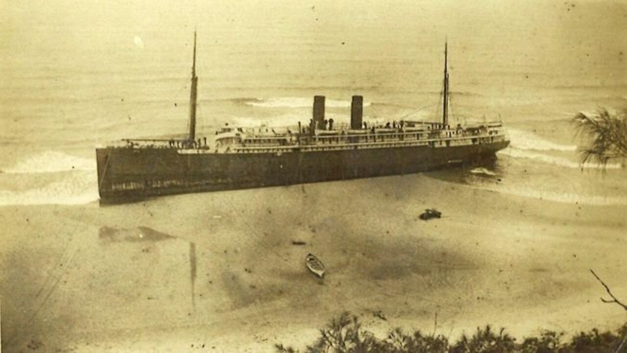 IN DISTRESS: The SS Maheno just after it went aground on Fraser Island on July 8, 1935.