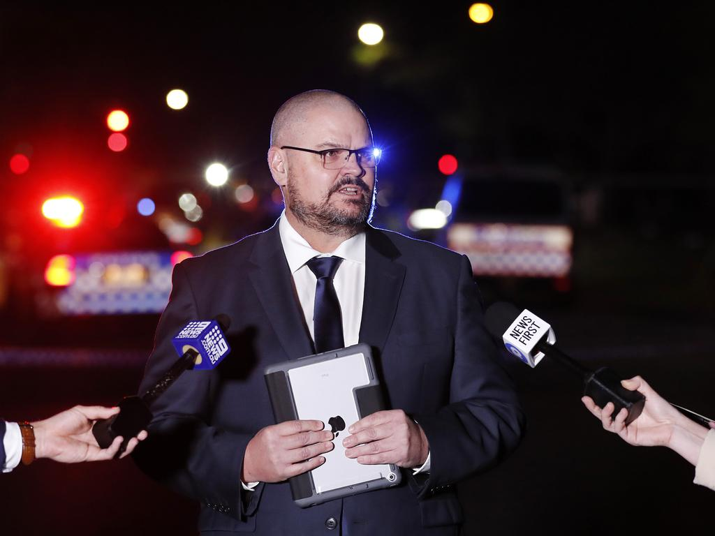 Regional crime co-ordinator Tony Fleming addressing the media after the police incident. Picture: Josh Woning