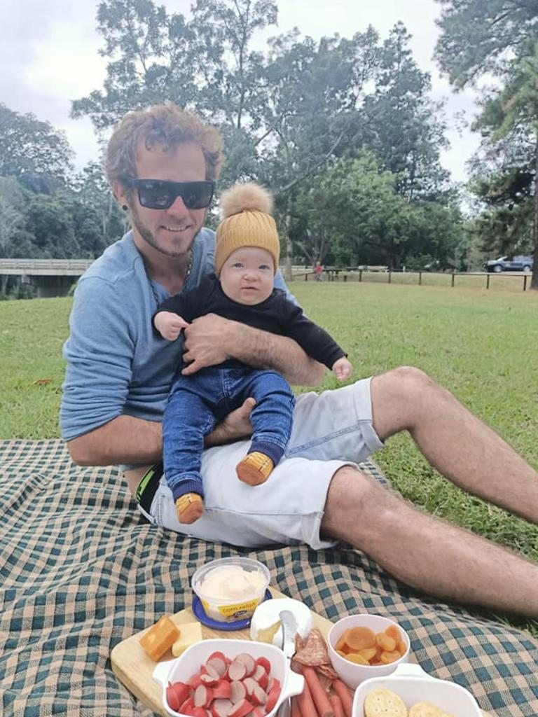 HAPPIER TIMES: Matt Tinney with his son Rylen.