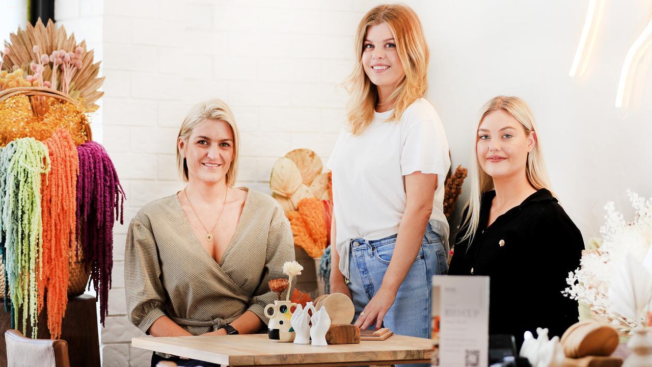 Nectar Juice House business partners Regan Botica and sisters Anna Hamilton and Kate Samson. Picture: SCOTT POWICK.