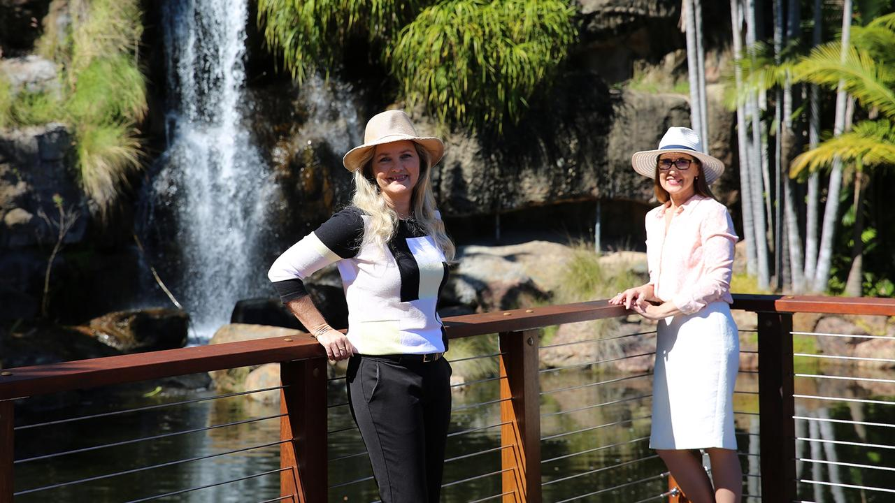 Councillor Cherie Rutherford and Councillor Donna Kirkland at the new Kershaw Gardens waterfall platform.