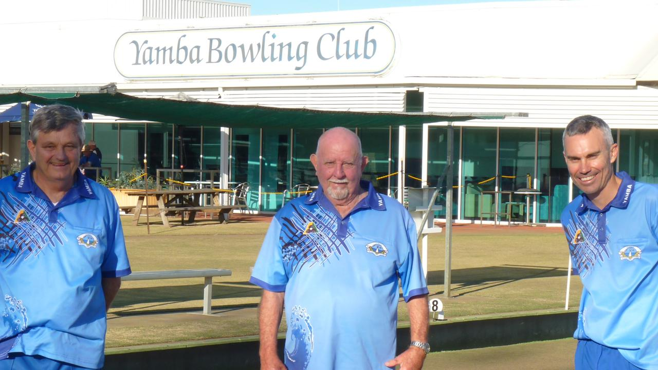 The socially-distanced Yamba Bowling Club 2020 Major Triples Champions: Terry Johnson, Nev Hillyard and Brad Johnson.