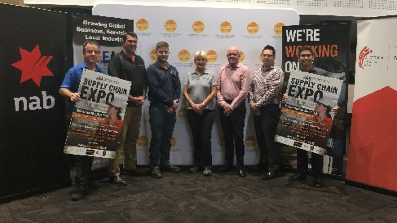 Gladstone Engineering Alliance events and communications co-ordinator Kieran Moran, Kevin Dollery (Link Resources), Mitch Upton and Jeanette Matslofva (Upton Engineering and Manufacturing), Rob Gibb (Australia Pacific LNG), Tim Fowler (NAB) and Jason Lalo from GEA preparing for the 2019 GEA Gladstone Supply Chain Expo.