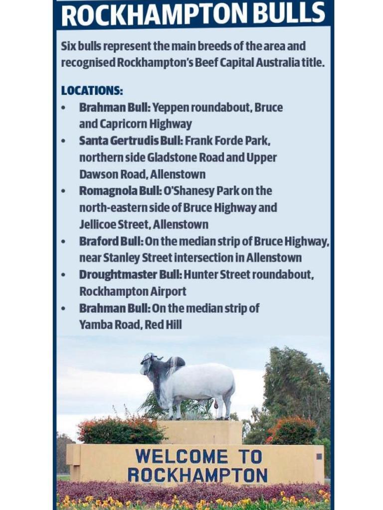 Rockhampton has six bulls throughout the city.