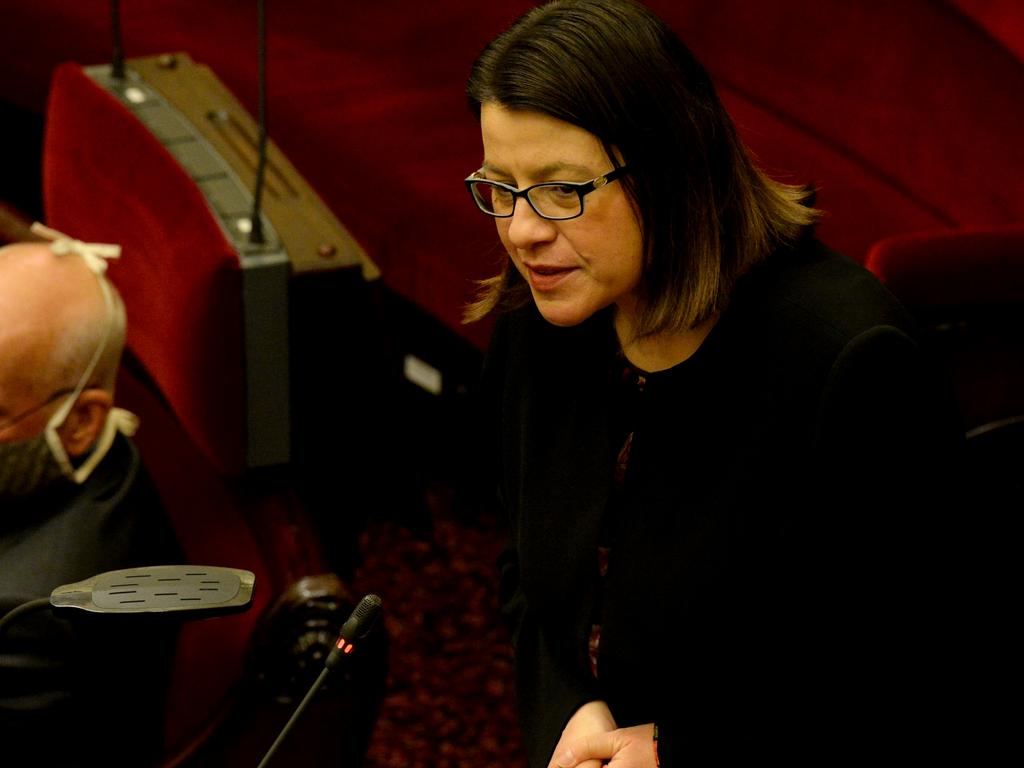 Jenny Mikakos sparked outrage by refusing to answer questions. Picture: NCA NewsWire / Andrew Henshaw